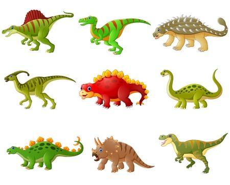 Vector illustration of Set of cartoon dinosaurs collections Illustration