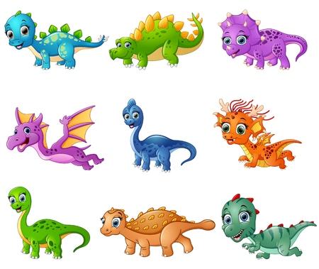漫画の恐竜コレクションのセットのベクトル イラスト  イラスト・ベクター素材