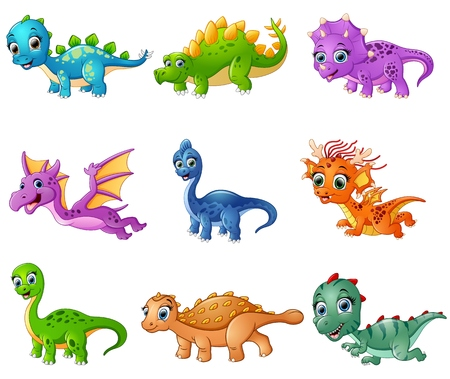 Vector illustration of Set of cartoon dinosaurs collections Vectores