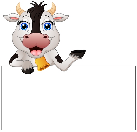 cow bells: Vector illustration of Cow cartoon with blank sign