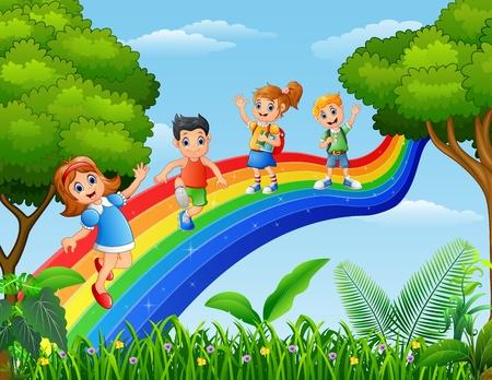 playmates: ilustración vectorial de los niños felices que se colocan sobre el arco iris