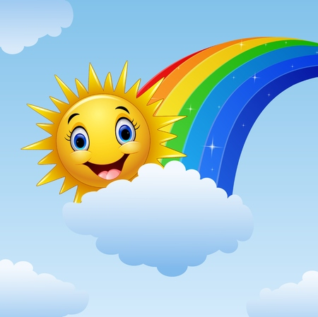 Vector illustration of Smiling sun character near the rainbow and clouds