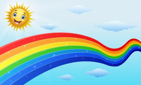 Vector illustration of Smiling sun character near the rainbow Illustration
