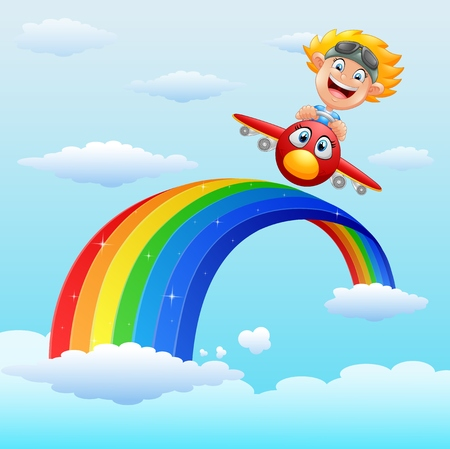 Vector illustration of Happy little boy riding a plane in near rainbow