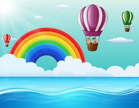 Vector illustration of Happy cartoon kids flying in a hot air balloon in ocean