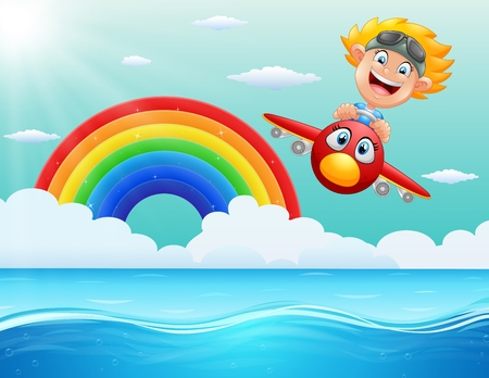 Vector illustration of Happy little boy riding a plane above the ocean