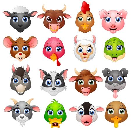 Vector illustration of Animal head cartoon collection set