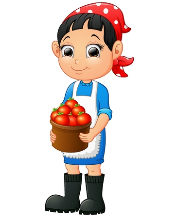 kids weaving: Vector illustration of Smiling young woman holding a basket of tomatoes