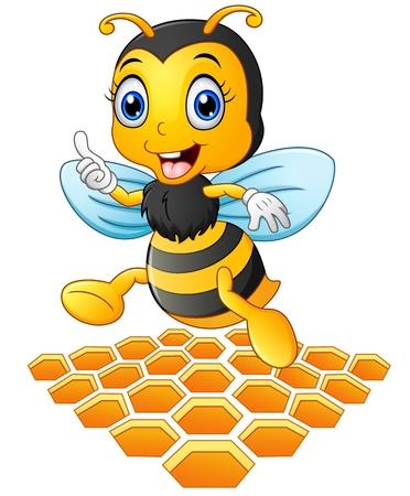 Vektor-Illustration von lächelnden Cartoon-Biene mit einer Bienenwabe