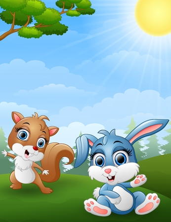 baby rabbit: Baby squirrel and baby rabbit cartoon in the jungle Illustration