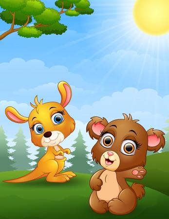 baby bear: Baby kangaroo and baby bear cartoon in the jungle Illustration