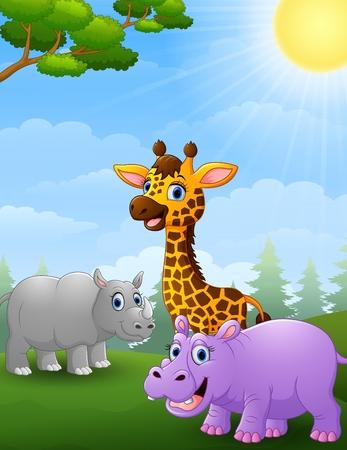 De dibujos animados africano animal en la selva Foto de archivo - 65486652