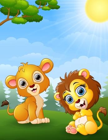 Dos de dibujos animados cachorro de león en la selva Foto de archivo - 65486693