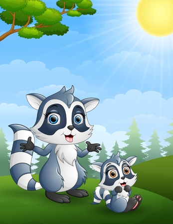 plant stand: Raccoon family. Mother and her child cartoon in the jungle