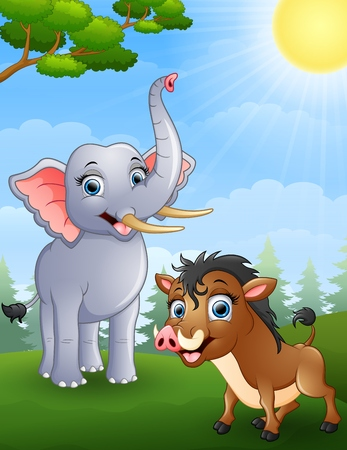 wild boar: Elephant and wild boar cartoon in the jungle Illustration