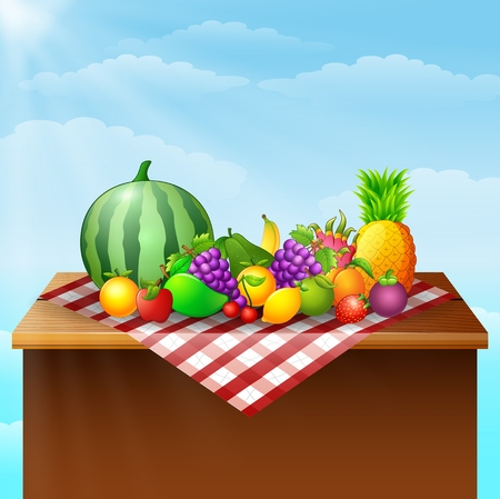 Fresh fruits on table illustration