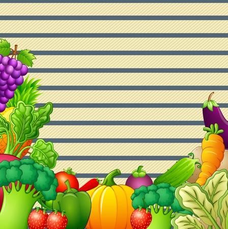 Paper design background with vegetables and fruits illustration Illustration