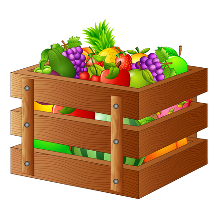 fresh vegetable: Fresh fruits in a wooden box