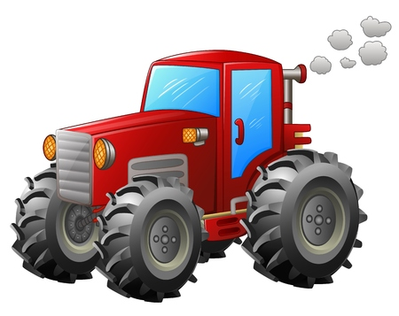 Red tractor on white backround
