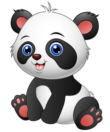 座っているかわいい赤ちゃんパンダ  イラスト・ベクター素材