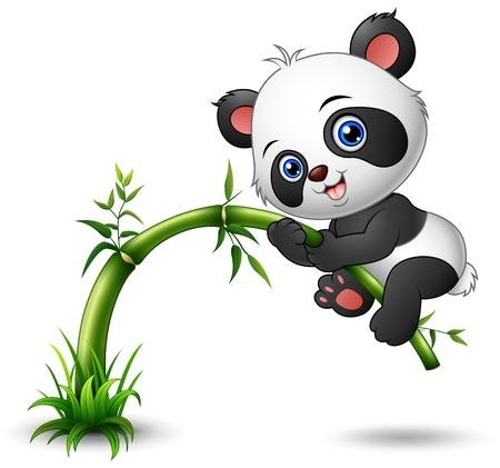 Cute baby panda tree climbing bamboo