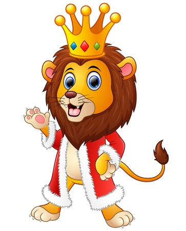 princely: Cartoon lion in king outfit