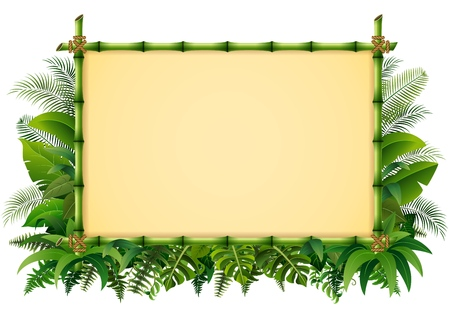 Tropical floral design background with green bamboo frame
