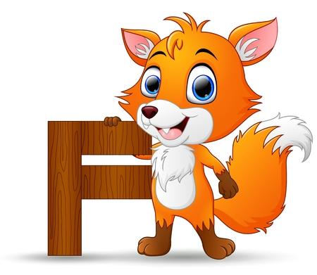 Alphabet F with Fox cartoon