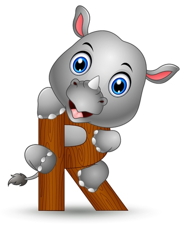 Alphabet R with Rhino cartoon Illustration