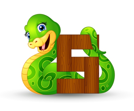 Alphabet S with Snake cartoon Illustration