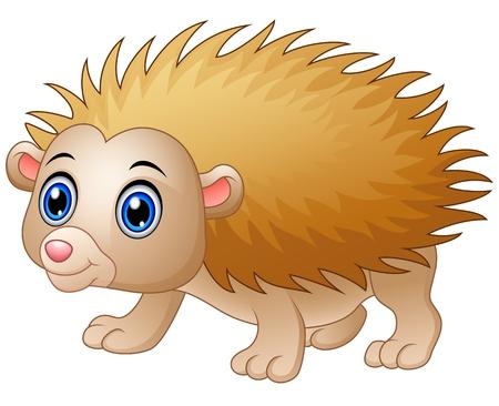Baby hedgehog cartoon isolated white background
