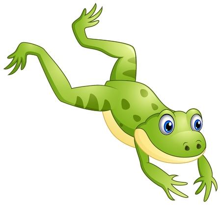 Cute frog cartoon leaping Vetores