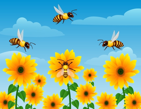 Vector illustration of Cartoon wasp flying over sunflower field