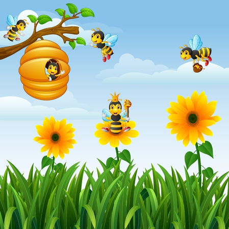 Vector Illustration von Bienen , die um den Bienenstock im Garten fliegen