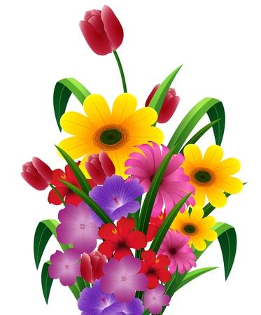 Ilustración vectorial de ramo de flores
