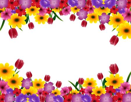 Vector illustration of Tropical flower border frame Vectores