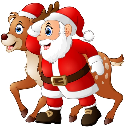 Vector illustration of Happy cartoon Santa and reindeer Illustration
