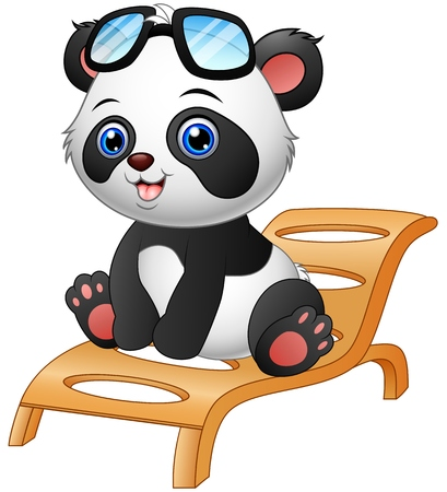 deck chair isolated: Vector illustration of Cartoon panda bear sitting on deck chair isolated on white background Illustration