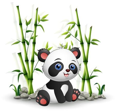 Baby panda sitting among bamboo stem 일러스트