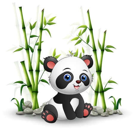 Baby panda sitting among bamboo stem Illustration