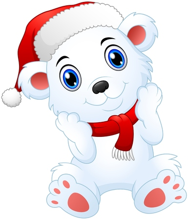 Vector illustration of Cute christmas polar bear cartoon