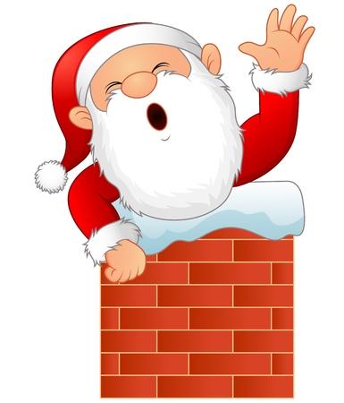 Vector illustration of Cartoon santa claus in chimney