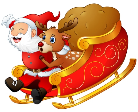 Santa claus and a reindeer riding his sleigh and carry huge sack Stock Photo