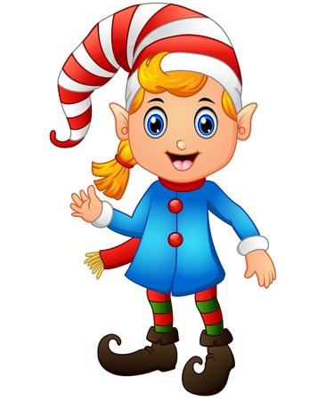 Vector illustration of Christmas girl elf character waving hands