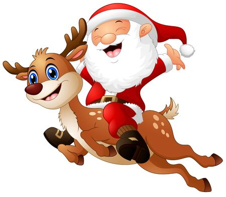 Vector illustration of Happy Santa claus riding a reindeer