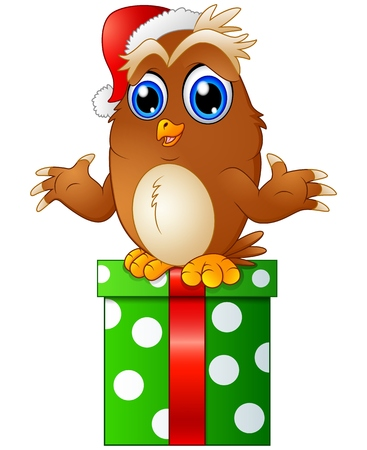 Vector illustration of Cartoon Christmas Owls and gift