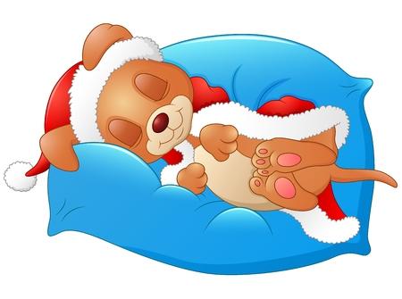 Vector illustration of Christmas puppy sleeping on the pillow Ilustração