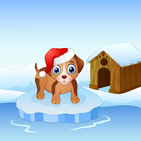 Vector illustration of Christmas dog on an ice floe