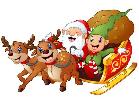 Kerstman en elf cartoon een manege in slee slee en gift bag met twee rendieren