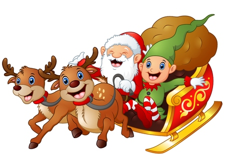 Santa and elf cartoon a riding in sled sleigh and gift bag with two reindeer Stock Photo